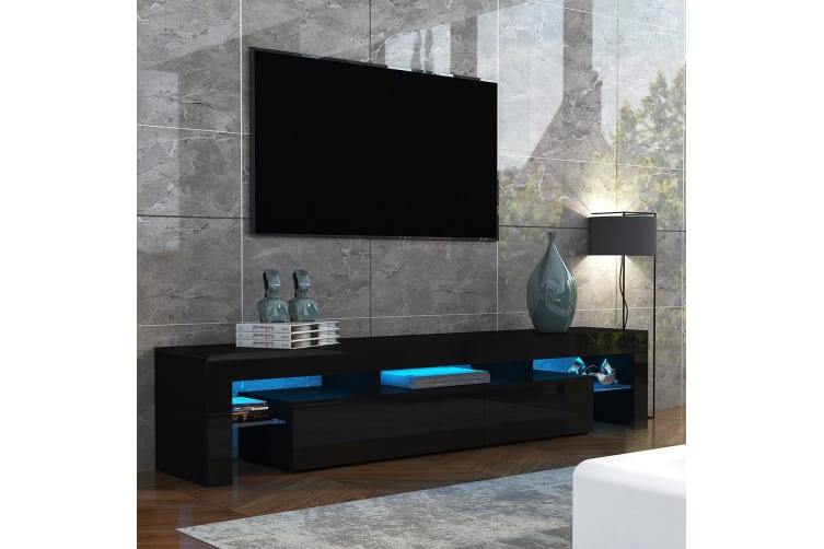 189cm TV Stand Cabinet 2 Drawers Wooden Entertainment Unit High Gloss Furniture Black