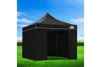 Pop Up Gazebo 3x3m Outdoor Gazebos Wedding Marquee Tent Black