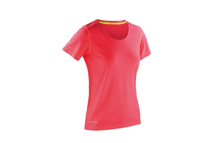 Spiro Womens/Ladies Shiny Marl Fitness T-Shirt (Hot Coral / Lime Punch) (M)