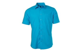 James and Nicholson Mens Shortsleeve Poplin Shirt (Turquoise)