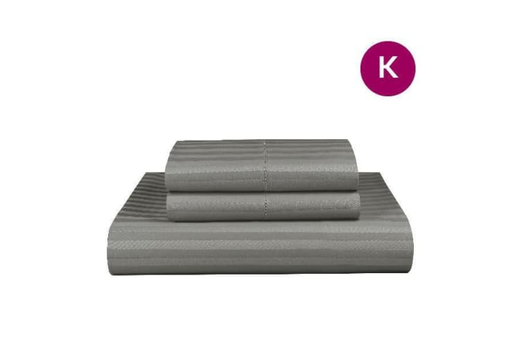 King Grey 1000TC Microfibre 1cm Stripe Quilt Cover Set