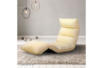 Artiss Lounge Sofa Floor Recliner Futon Couch Folding Chaise Chair Amber