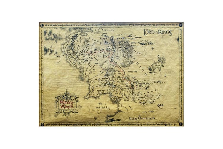 Official Lord of the Rings Middle Earth Parchment Map Poster 66 x 46cms