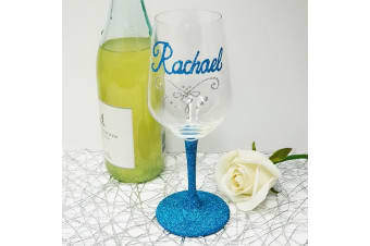 Personalised Wine Glass 450ml Hand Painted Glittered Base