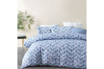Riley Blue Quilted Quilt Cover Set Queen