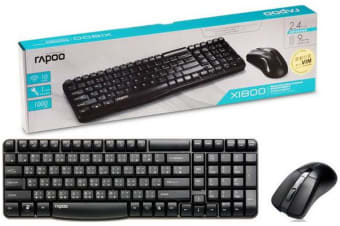 RAPOO X1800 2.4GHz Wireless Optical Keyboard Mouse Combo Black - 1000DPI Spill-Resistant