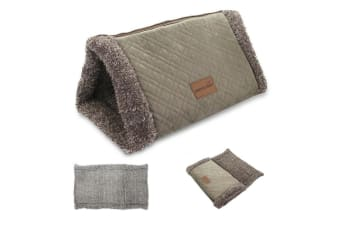 2 in 1 Cat Play N Snuggle Tunnel Kitty Cave Fleece Warm Bed Toy Blanket 82X54cm
