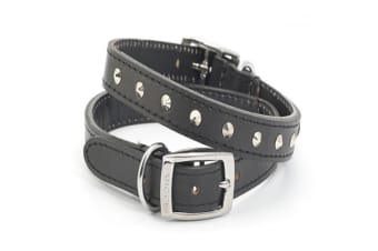 Ancol Heritage Sewn/Studded Leather Dog Collar (Black) (65cm)