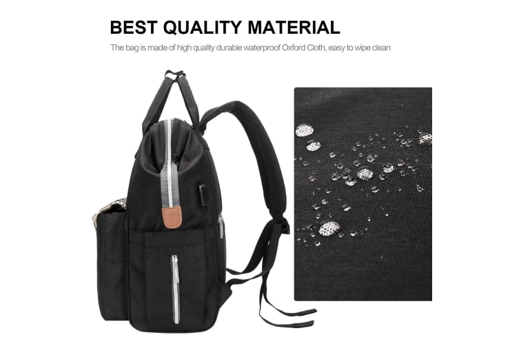 Waterproof Black Baby Changing Bags Nappy Diaper Backpack
