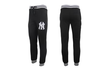 Mens Womens Unisex New York Yankees Fleece Lined Sport Joggers Sweat Track Pants - Black - Black