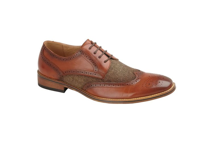 Goor Mens 4 Eye Leather Lined Brogue Gibson Shoe (Tan) (10 UK)