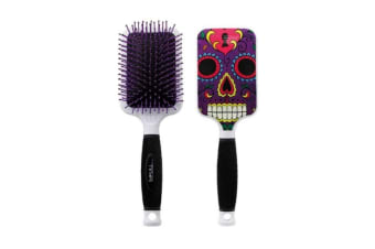 Bifull Skull Paddle Brush For Dogs (Purple) (One Size)