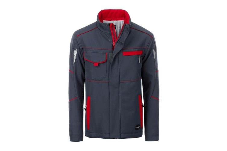 James and Nicholson Unisex Workwear Softshell Padded Jacket Level 2 (Carbon Grey/Red) (4XL)