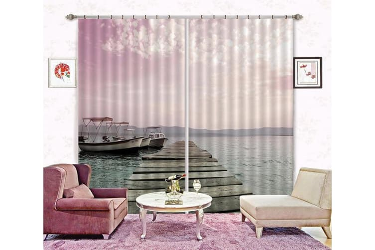 3D Lake Yachts 196 Curtains Drapes, 320cmx270cm(WxH) 126''x 106''