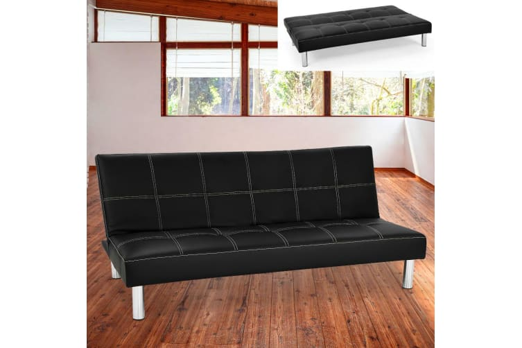 Chelsea 3 Seater Faux Leather Sofa Bed Couch - Black