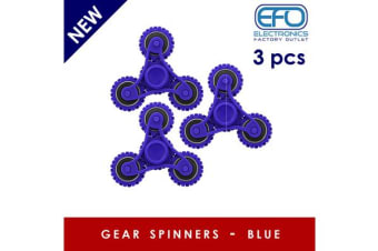 3Pc 3X 3D Hand Spinner Fidget Toy Gear Style Stress Reliever Fast Bearing Spin Blue