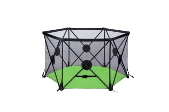 Kidbot Travel Child Pop Up Playpen Foldaway Baby Playpen 6-Panel Green