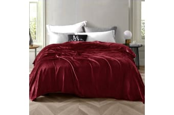 Giselle Soft Mink Blanket Queen Size Weighted Quilt Throw Rug Red 210cmx240cm