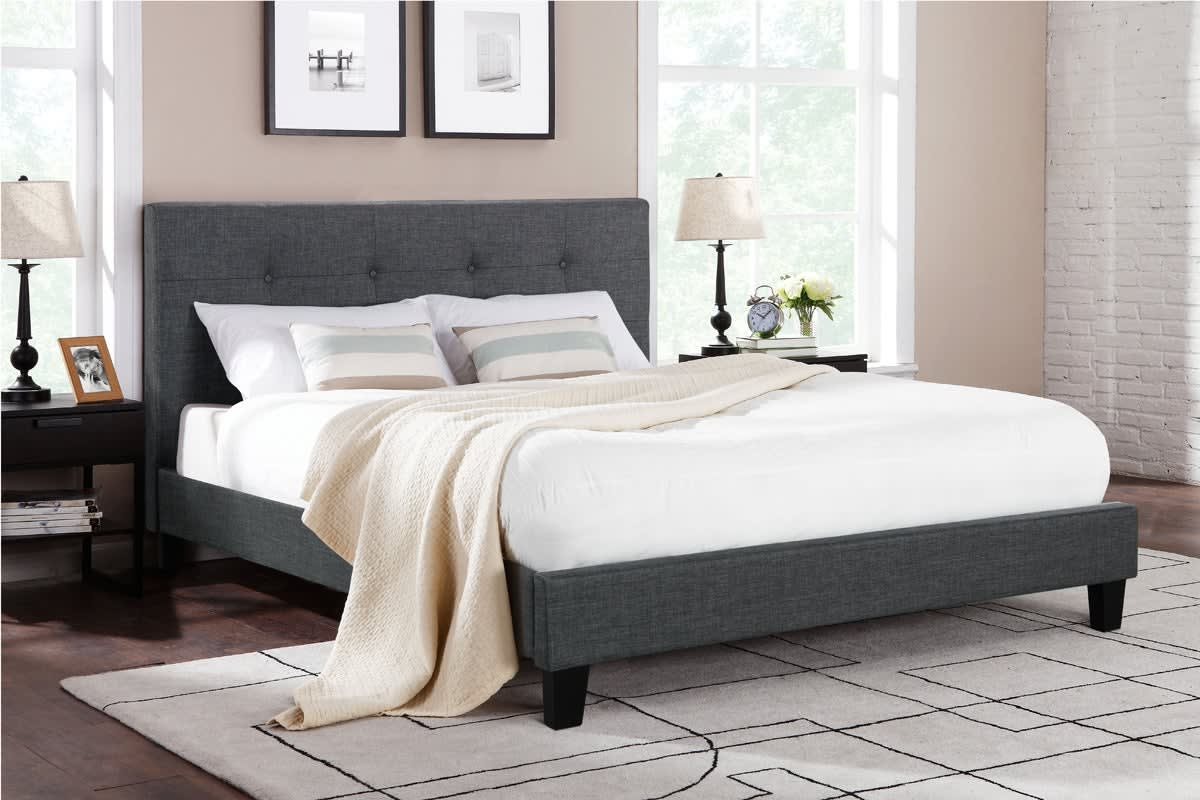 Ovela Bed Frame - Positano Collection (Dark Grey, King)