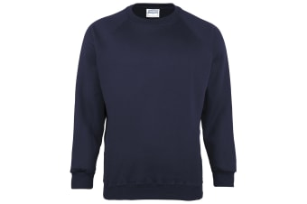 Maddins Kids Unisex Coloursure Crew Neck Sweatshirt / Schoolwear (Navy) (34)