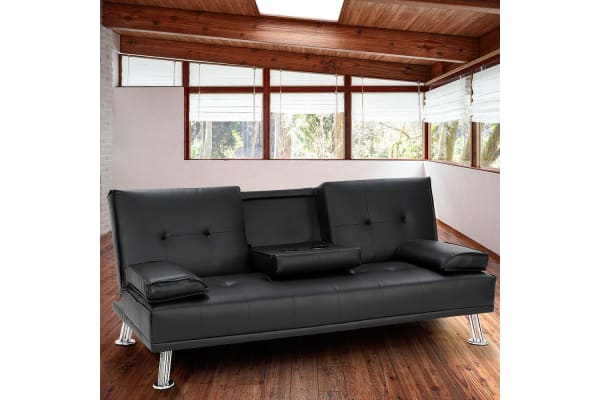 Rochester Faux Leather Sofa Bed Lounge - Black