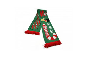 Red Bus Sleigh Christmas Scarf (Red/Green/White) (One Size)