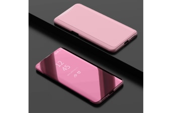 Mirror Cover Electroplate Clear Smart Kickstand For Oppo Series Rose Gold Oppo R17