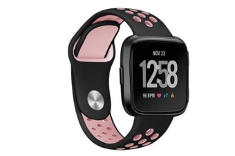 Silicone Sport Band With Ventilation Holes Replacement Straps For Fitbit Versa Smartwatch Black Pink