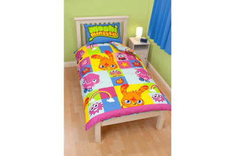 Moshi Monsters Childrens/Kids Official Duvet Cover Bedding Set (Blue/Green) (Single Bed)