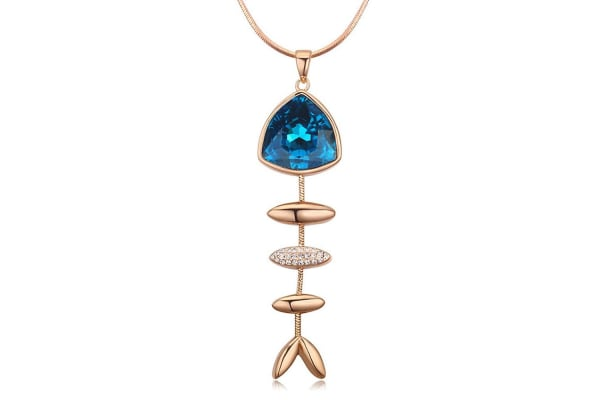 Lovely Blue Fishbone With Long Necklace w/Swarovski Crystals-Gold/Blue