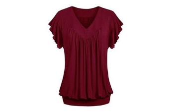 Women's V Neck Short Sleeves Front Pleated Tunic Shirts Blouses Top M