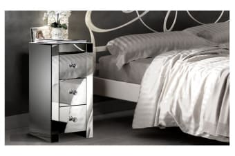 Silver Mirrored Bedside Table Chest Nightstand