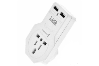 Sansai Travel Adaptor with USB Charging  Ports Light weight Surge Protected