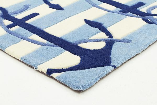 Nautical Anchors Rug Blue White 220x150cm