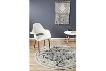 Hazel Charcoal & Grey Durable Medallion Round Rug 150x150cm
