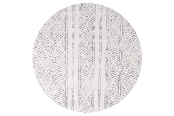 Amelia Bone Ivory & Grey Cable Knit Durable Round Rug 200x200cm