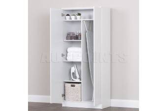 Large Storage Cabinet Organiser Two 2 Door Shelf Room Cupboard White Bathroom