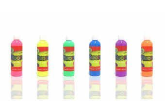 6 x Artistic Fluorescent Paint Fluoro Fluro Glo Colour 250ml