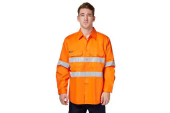King Gee Long Sleeve Hi Visibility Long Sleeve Drill Shirt (Orange, Size XL)