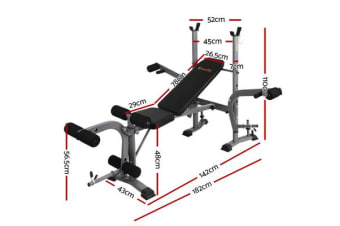 Everfit Multi-Station Weight Bench Press Fitness Weights Equipment Incline Black