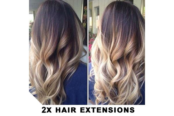 """2Pcs Two Tone Ombre High Grade Brown Curly Hair 7Piece 16Clips 24"""" Hair Extension04 2X"""