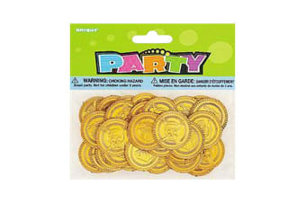 Unique Party Pirates Plastic Gold Treasure Coins (Gold) (Pack of 144)