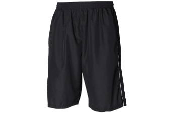 Tombo Teamsport Mens Teamwear All Purpose Longline Lined Sports Short (Black/White)