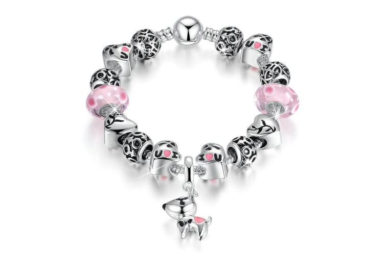 Pandora Inspired Full Set Beaded Charm Bracelet-Pink
