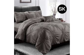 Super King Size Stone Circle Ruched Large Diamond Pintuck Dyed Quilt/Doona Cover Pillowcase Set