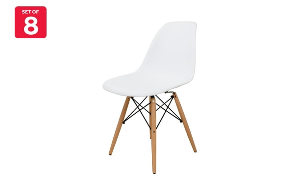 Ovela Set of 8 Eiffel DSW Dining Chairs - Eames Replica (White)