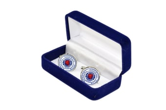 Rangers FC Mens Official Metal Football Crest Cufflinks (Silver/White/Blue)