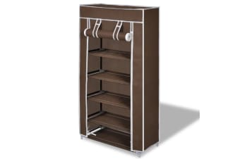 vidaXL Shoe Cabinet with Cover 58 x 28 x 106 cm Brown Fabric