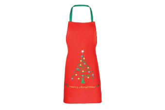 Christmas Shop Unisex Christmas Apron (2 Designs) (Red Tree) (One Size)