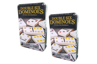 2PK Cardinal Classic Double Six Coloured Dots Dominoes w/Tin Case Kids Toys Game